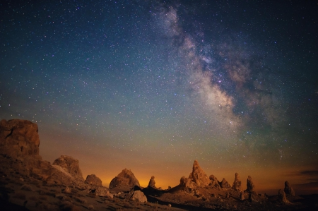 Milky Way - stars, fun, Milky Way, mountains, space