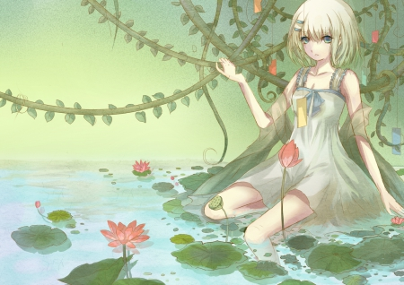 ~Tobiichi Origami~ - pretty, pink flowers, dress, Tobiichi Origami, date a live, water, lily pads, anime, vines