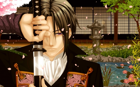 Toshizo Hijikata - guy, blade, emotional, anime, handsome, hot, weapon, long hair, sword, male, brown hair, Hakuouki Shinsengumi Kitan, sexy, toshizo hijikata, Shinsengumi, cute, boy, cool, warrior, katana, petals, sinister, serious