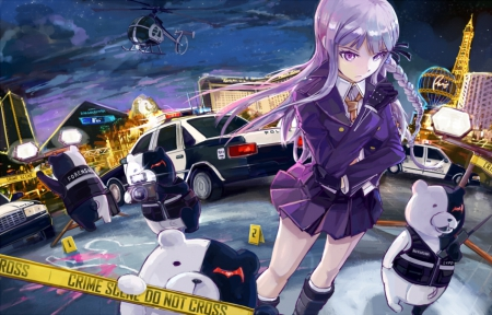 Crime Scene - pretty, bear, sweet, nice, anime, car, hot, anime girl, police, long hair, female, lovely, officer, helicopter, purple hair, sexy, motorcar, cute, kawaii, girl, uniform