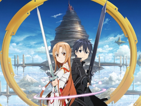 Sword Art Online - kazuto, kazuto kirigaya, angry, inister, fantasy, love, emotional, anime, handsome, anime girl, weapon, long hair, sword, yuuki, mad, sky, sexy, cute, asuna yuuki, lover, asuna, sinister, knight, float, guy, kirito, blade, hot, scenery, black hair, couple, female, cloud, male, brown hair, kirigaya kazuto, yuuki asuna, sword art online, kirigaya, armor, sao, warrior, boy, girl, fortress, scene