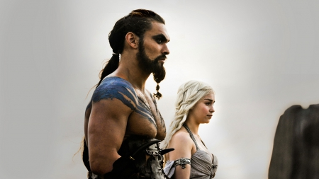 Game of Thrones - Khal Drogo and Daenerys Targaryen - house, stormborn, westeros, Jason Momoa, game, khaleesi, Emilia Clarke, picture, show, fantasy, tv show, wallpaper, daenerys targaryen, Khal Drogo, George R R Martin, GoT, essos, fantastic, HBO, a song of ice and fire, Game of Thrones, thrones, medieval, entertainment, skyphoenixx1