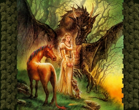 Drangon Lady - fantasy, unicorn, trees, dragon, woman