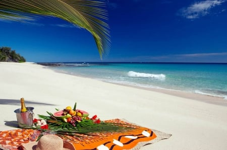 Tropical Picnic on the Beach - polynesia, eat, picnic, sea, atoll, beach, bora bora, sand, lunch, dining, exotic, islands, food, ocean, breakfast, paradise, dine, island, tahiti, tropical