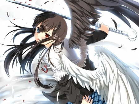 Black & White Angel - wings, dress, brown hair, angel, black and white, school girl, warrior, anime girl, long hair, sword, feathers