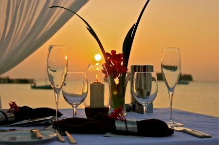 Dinner on the Beach at Sunset - polynesia, dinner, dusk, sunset, twilight, sea, beach, sand, dining, exotic, romantic, romance, ocean, wine, table for two, paradise, tropical