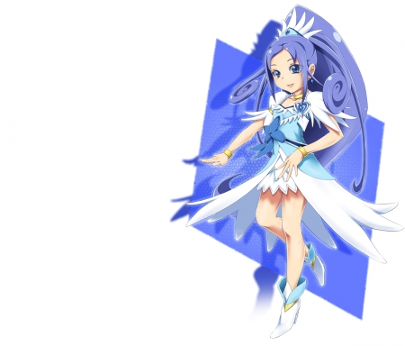 Cure Diamond - pretty, dress, sweet, cure diamond, magical girl, nice, pretty cure, anime, anime girl, long hair, blue, female, lovely, plain, armor, warrior, girl, blue hair, precure, simple, white