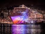 huge cruise ship docked in purple light