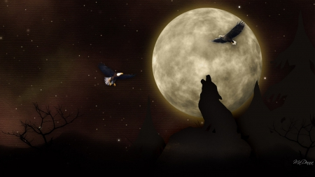 Shadow of the Moon - eagles, brown, trees, totem, full moon, dark, Native American, wolves, howling