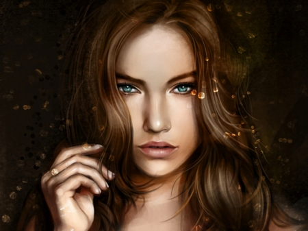 Fantasy Blue Eyes - beautful, fantasy, face, woman, blue eyes