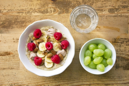 Breakfast - raspberries, table, food, bananas, breakfast, cereals, fruit, grapes, healthy food