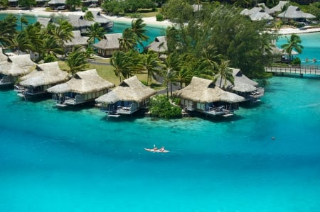 Moorea Blue Lagoon and Water Bungalows - moorea, polynesia, teal, sea, beach, turquoise, lagoon, bungalows, aqua, blue, exotic, islands, ocean, water, paradise, island, tahiti, tropical, villas