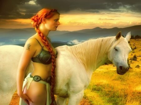 Horse Maidenredhair - girl, redhair, maid, white, horse