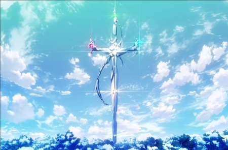 Sword of Damocles - item, glow, scenic, object, sparks, objects, project k, beautiful, magic, sweet, fantasy, blade, big, anime, k, k project, beauty, weapon, scenery, huge, sword, giant, cloud, lovely, items, sky, magical, scene, landscape