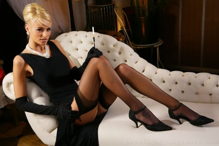 Smoking Hot Stockings - smoking hot blonde, hot stockings, smoking, Smoking Hot Stockings, smoking hot, hot blonde