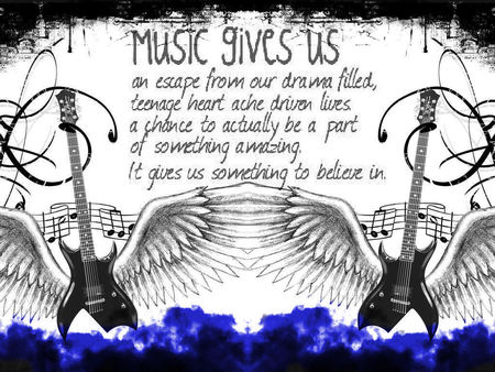 music - wings, guitar, poem, music, teens, guitars