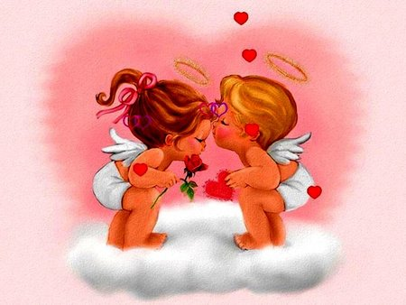 ANGELS AND HEARTS - baby, pink, heart, love, ribbon, halo, hearts, clouds, fantasy, angel, flower, wings, boy, girl, angels, kiss