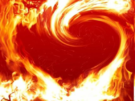 Fire Of Love - fire, flames, love, heart, hot