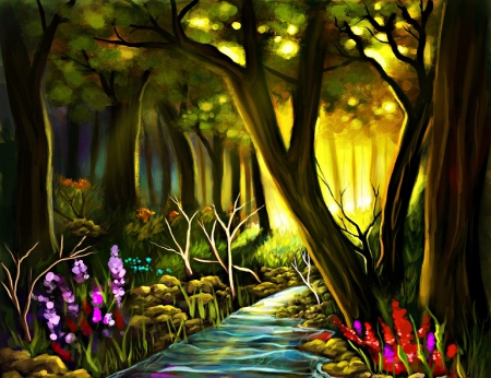 ✰Scenic Forests✰  - rocks, grass, woods, softness beauty, attractions in dreams, digital art, paintings, landscapes, scenic forests, flowers, forests, scenery, drawings, streams, animals, love four seasons, creative pre-made, trees, plants, nature