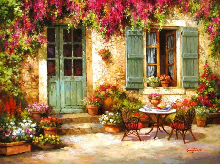 Coffee time - pretty, house, cottage, home, vase, beautiful, tea, countryside, nice, calm, painting, flowers, rural, table, art, rustic, quiet, cozy, lovely, time, silence, yard, pleasant, serenity, coffee, summer, pleasure, nature