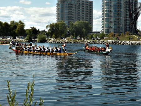 Barrie's Dragon boat races - boats, water, people, races, blue