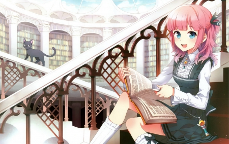 princess honoka the story seeker - cute girl, books, cat, pink hair, blue eyes, beautiful girl