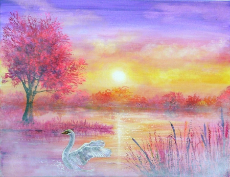 H A Z Y - pretty, draw and paint, attractions in dreams, beautiful, swan, landscapes, heaven, scenery, traditional art, lakes, lovely, love four seasons, creative pre-made, trees, mist, plants, sunshine, nature