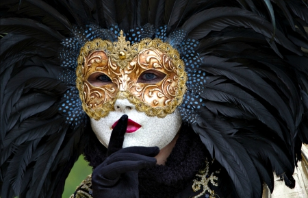 Venice Carnival - red, model, golden, black, venice, woman, glove, carnival, fantasy, girl, green, feather, hand, white, mask, italy