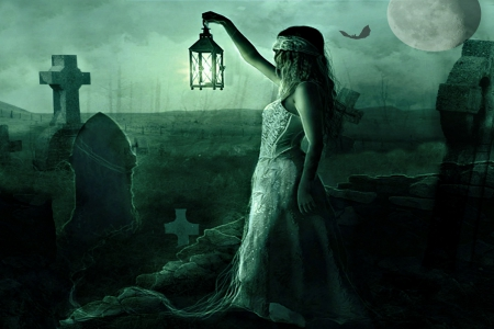 LOOKING FOR EVIL - fantasy girls, happy halloween, halloween, evil, goth, fantasy, graves, moon, green, gothic, dark, graveyard
