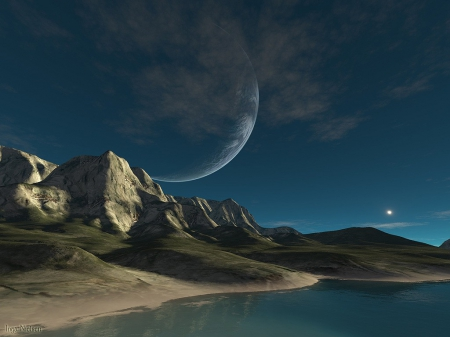 Blue Moon Universe - planet skyscapes, hills, universe skyscapes, fantasy world, blue moon, Blue Moon Universe