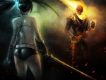 black rock shooter vs ghost rider