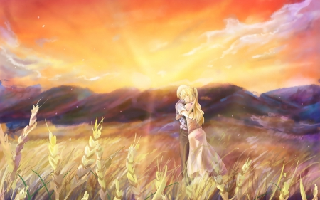 katawa shoujo - sundown, boy, girl, anime, katawa shoujo, couple