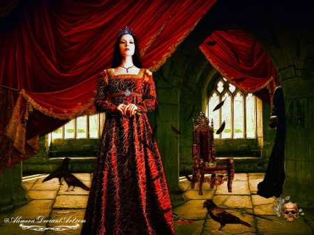 Lady Macbeth - red, fantasy, curtains, abstract, lady