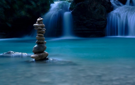 Balance of Nature - balance, stones, zen, waterfall, river, blue