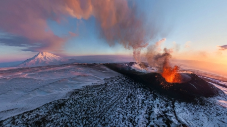 eruptions on a snow covered volcano - snow, mountains, eruption, steam, smoke, volcano