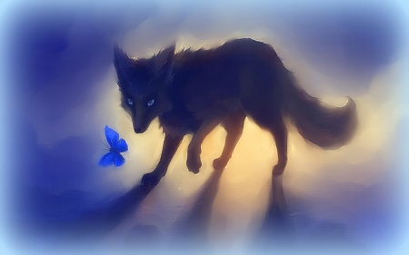 black fox with butterfly - pretty, lovely, colors, softness beauty, creative pre-made, digital art, paintings, cool, black fox, butterfly, fox, black fox with butterfly, drawings, animals
