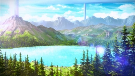 SAO: LakeScape - pretty, glow, scenic, plant, sparks, beautiful, sweet, mountain, nice, anime, beauty, scenery, hill, forest, cloud, lovely, sword art online, sky, lake, pond, tree, sao, water, nature, scene, landscape