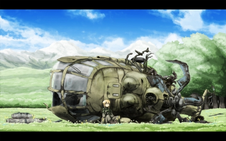 the end - forest, original, helicopter, sky, clouds, girl, anime, landscape, meadow