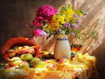 Summer apples and flowers -still life