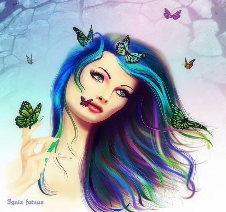 ~Colors Butterfly Girl~ - fantasy arts, fantasy girls, colorful, butterfly girl, softness beauty, digital art, textures, hair, paintings, beautiful girls, girls, drawings, butterfly designs, model, colors, love four seasons, butterflies, weird things people wear, backgrounds