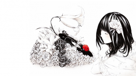 music of Nature - cute girl, rose, music, black and white, red rose, girl, anime, flowers, nature, black hair, record