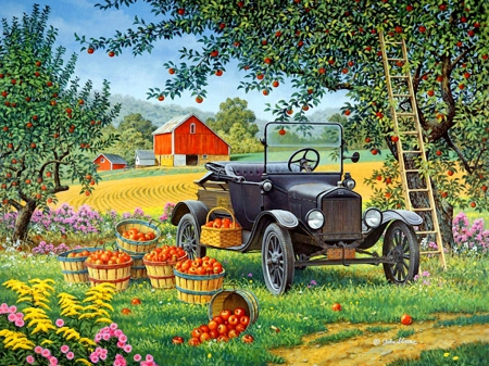 Pick your own - pretty, autumn, house, cottages, grass, beautiful, barn, countryside, farm, nice, car, painting, path, flowers, rural, art, rustic, lovely, time, apples, pick, tree, plenty