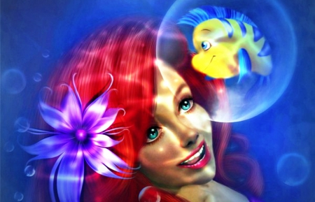 Arielle - red, fish, redhead, yellow, woman, sea, fantasy, arielle, pink, blue, art, underwater, bubble, ocean, mermaid, smile, water, girl, flower