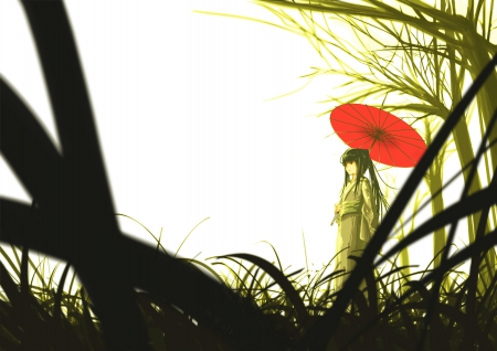 Pixiv Id - forest, green, girl, Pixiv Id, anime, red umbrella