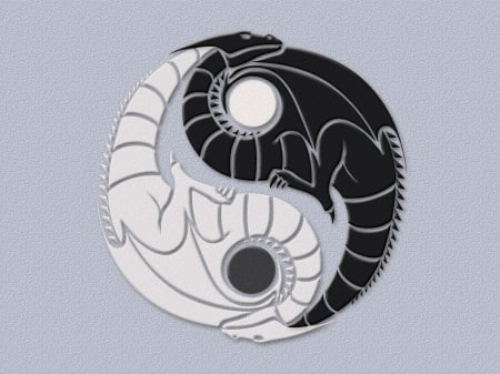 Yin Yang Dragons - yang, good, black, evil, yin, white, dragons