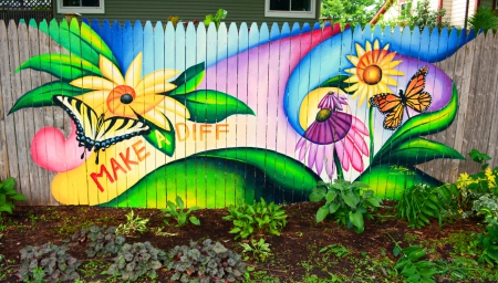 GRAFFITI  GARDEN - FENCE, FLOWERS, ARTWORK, BUTTERFLIES