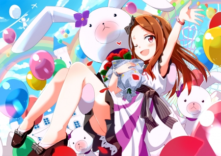 It's All About Me!!! - brown hair, bouquet, idolmaster, anime, balloons, minase iori, wink, bunnies, castle