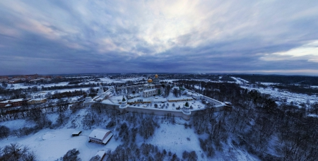 view of church within a fortress in winter - town, fortress, church, trees, hill, winter