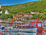 boats by a lovely lakeside town in turkey hdr