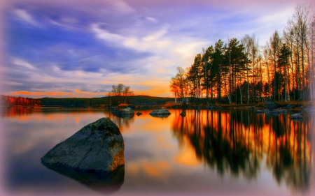 It seems illusion in the mirror - rocks, silent, stunning, grass, beautiful, clouds, photography, waterscapes, illusion, sunsets, landscapes, in the mirror, quiet, lakes, colors, creative pre-made, sky, trees, cool, plants, nature, reflections
